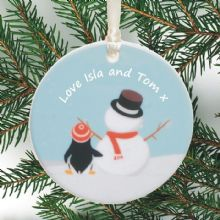 Personalised Ceramic Christmas Tree Decoration - Penguin and Snowman Design